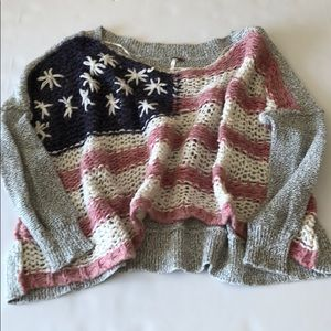 Free People American Flag Crop Sweater